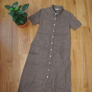 Linen Button Up Short Sleeve Maxi Dress